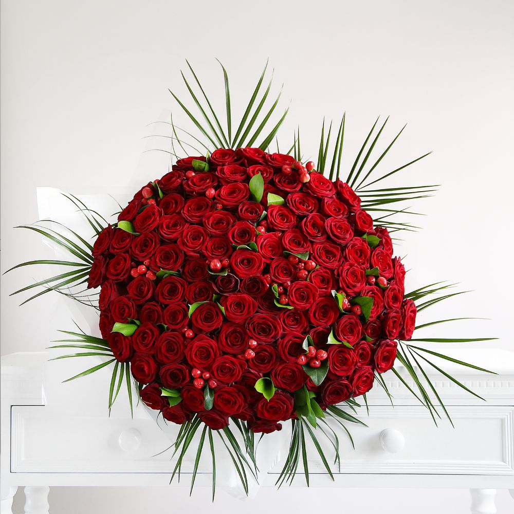 Image of One Hundred Red Roses Bouquet - flowers