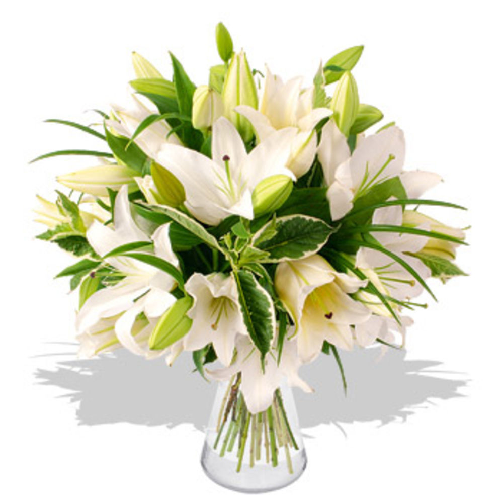 Image of White Lily Bouquet - flowers