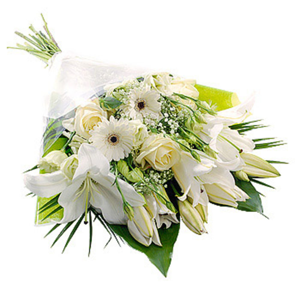 Image of White Gift Wrap - flowers