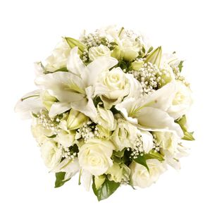 White Lily Rose Funeral Posy