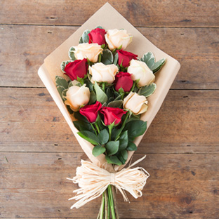 Romantic Red and Peach Roses