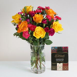 Fairtrade Rainbow Roses and Chocolate Tasting Set